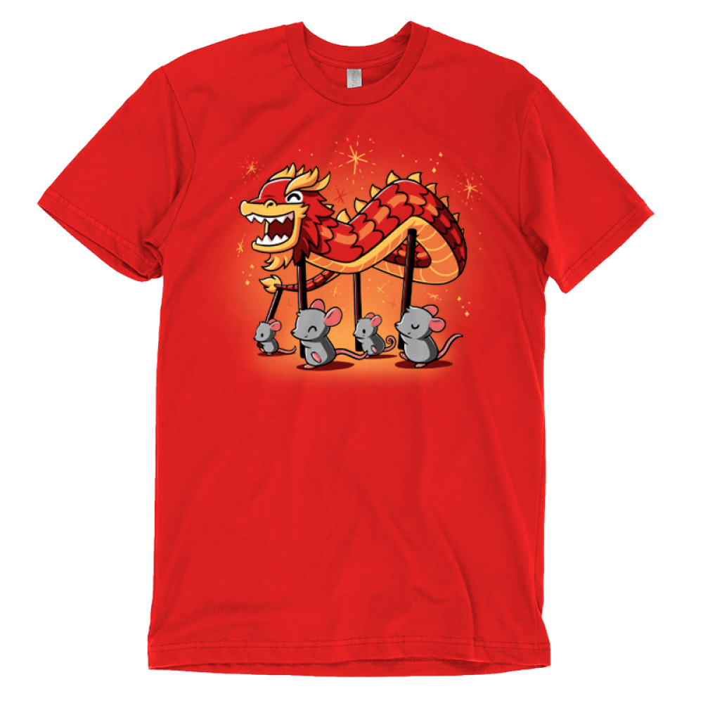 Year of the Rat t-shirt TeeTurtle red t-shirt featuring four gray rats holding up poles with a paper dragon