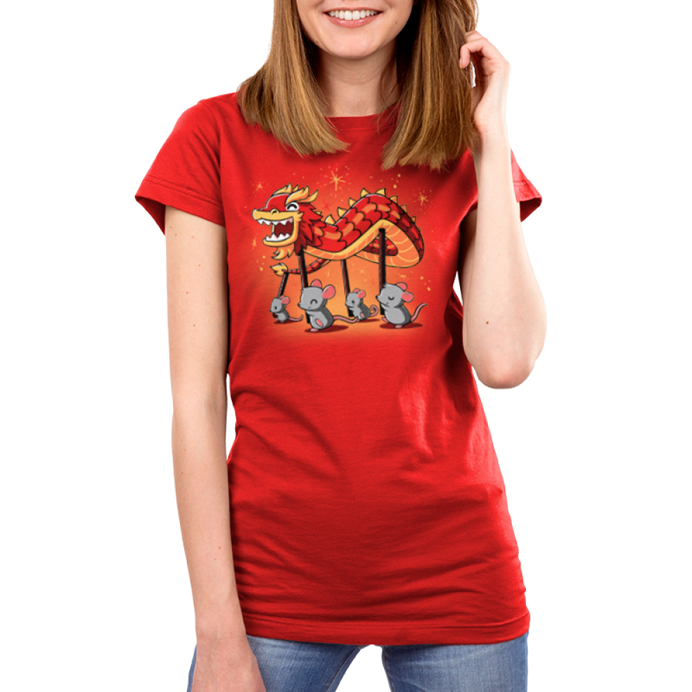 Year of the Rat Women's t-shirt model TeeTurtle red t-shirt featuring four gray rats holding up poles with a paper dragon