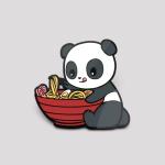 Ramen Panda Pin featuring a panda licking its mouth holding a huge bowl of ramen