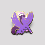 Dark Angel Unicorn Pin featuring a purple unicorn with wings looking angry with a halo over its head on fire