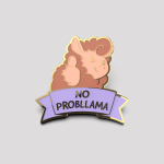 No Probllama Pin featuring a llama with its thumb up