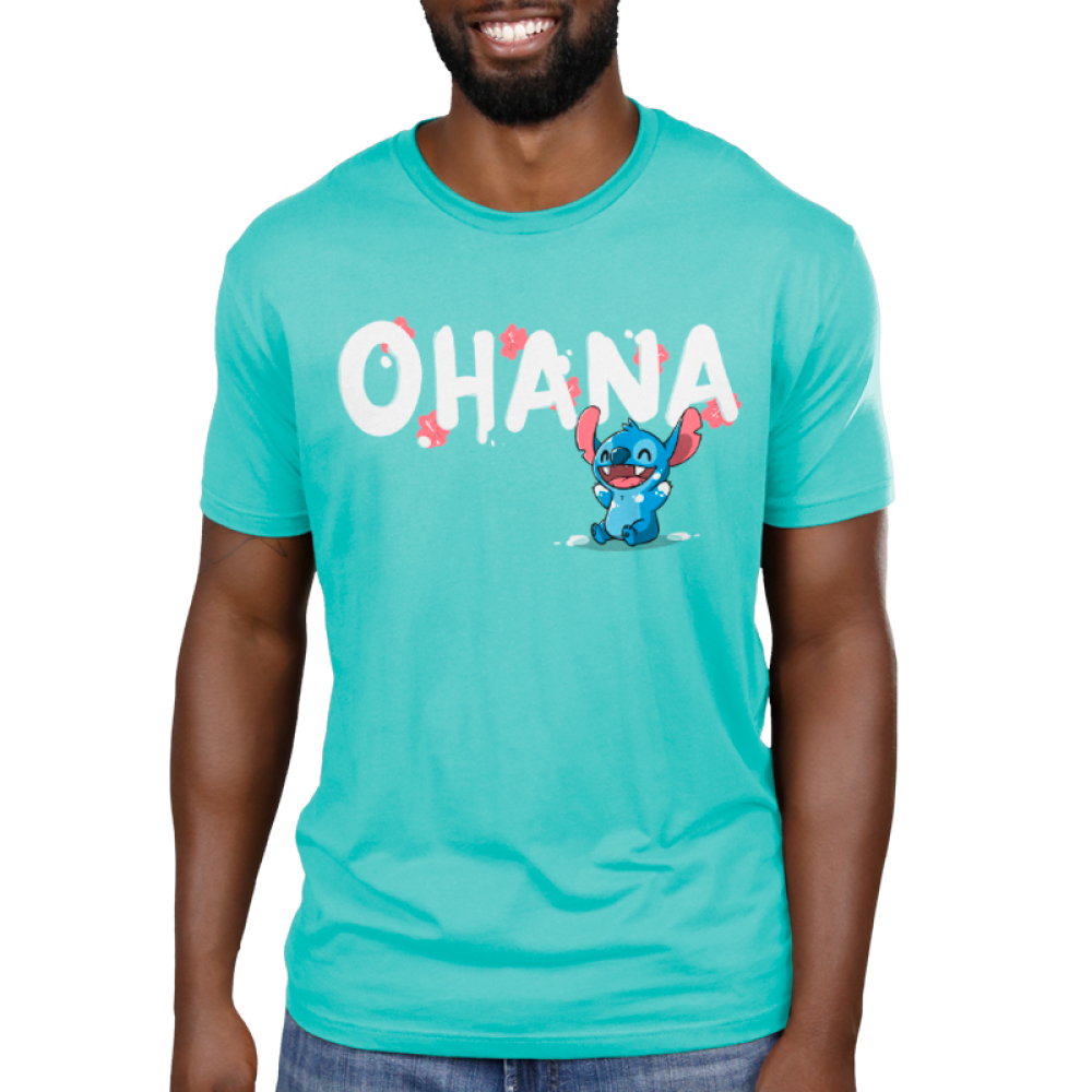 Ohana V2 Men's t-shirt model officially licensed Disney caribbean blue t-shirt featuring stitch from the movie Lilo & Stitch