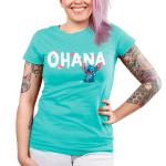 Ohana V2 Junior's t-shirt model officially licensed Disney caribbean blue t-shirt featuring stitch from the movie Lilo & Stitch