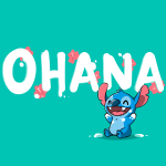 Ohana V2 t-shirt officially licensed Disney caribbean blue t-shirt featuring stitch from the movie Lilo & Stitch