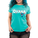 Ohana V2 Women's t-shirt model officially licensed Disney caribbean blue t-shirt featuring stitch from the movie Lilo & Stitch