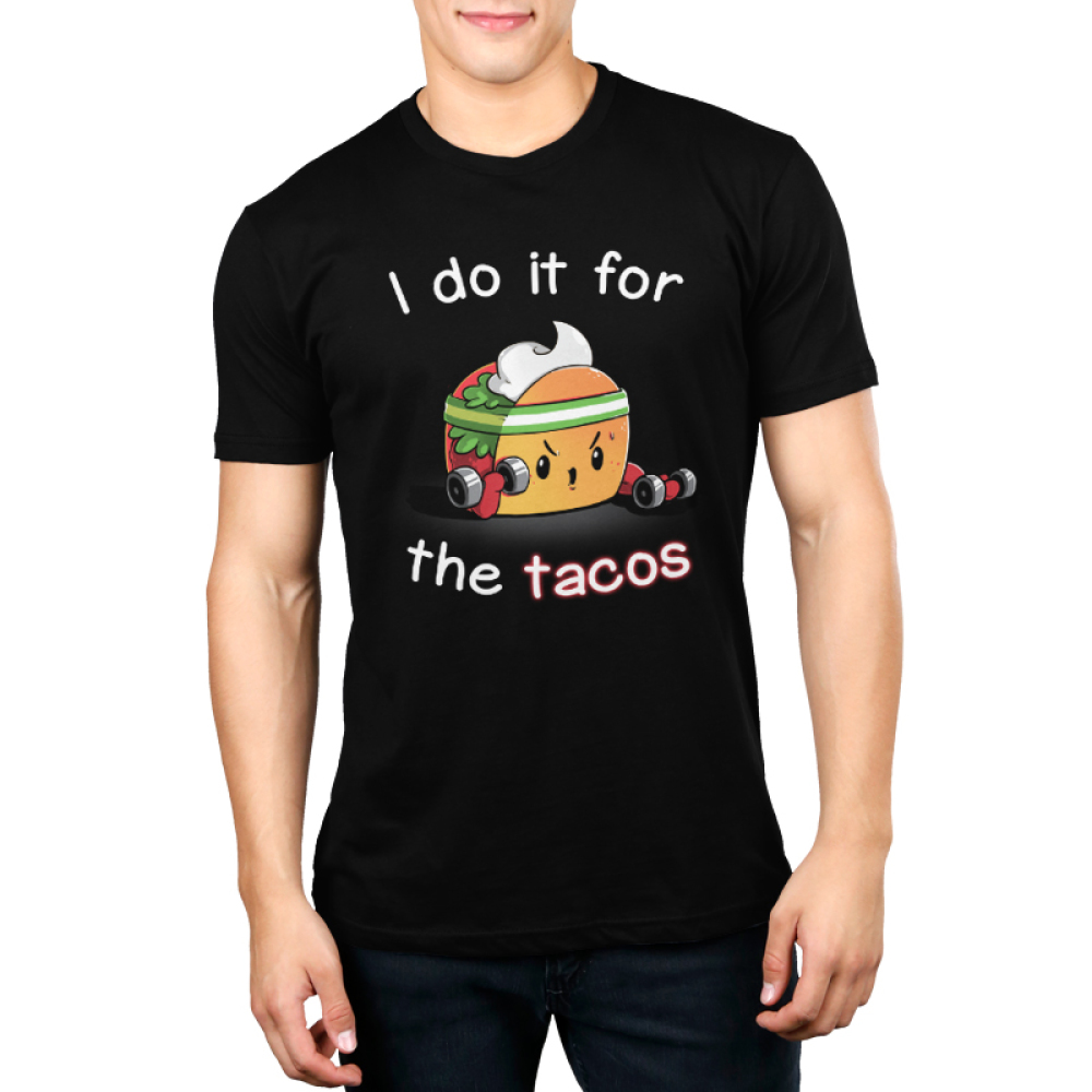 For the Tacos Men's t-shirt model TeeTurtle black t-shirt featuring a taco with a sweatband on lifting hand weights