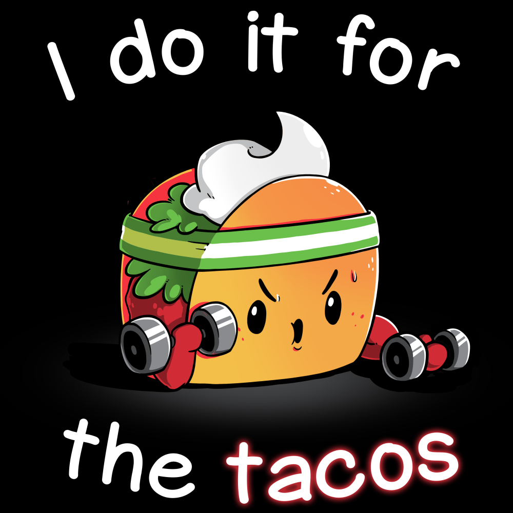 For the Tacos t-shirt TeeTurtle black t-shirt featuring a taco with a sweatband on lifting hand weights