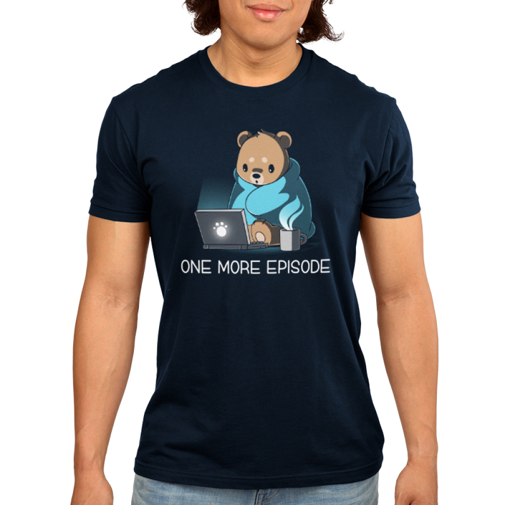 One More Episode Men's t-shirt model TeeTurtle navy t-shirt featuring a Bear wrapped in a blanket with a cup of coffee next to him starring at a computer screen