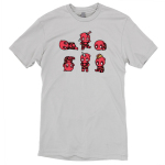Derpy Deadpools t-shirt TeeTurtle officially licensed silver marvel t-shirt featuring six deadpools looking derpy