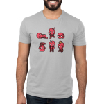 Derpy Deadpools Men's t-shirt model TeeTurtle officially licensed silver marvel t-shirt featuring six deadpools looking derpy