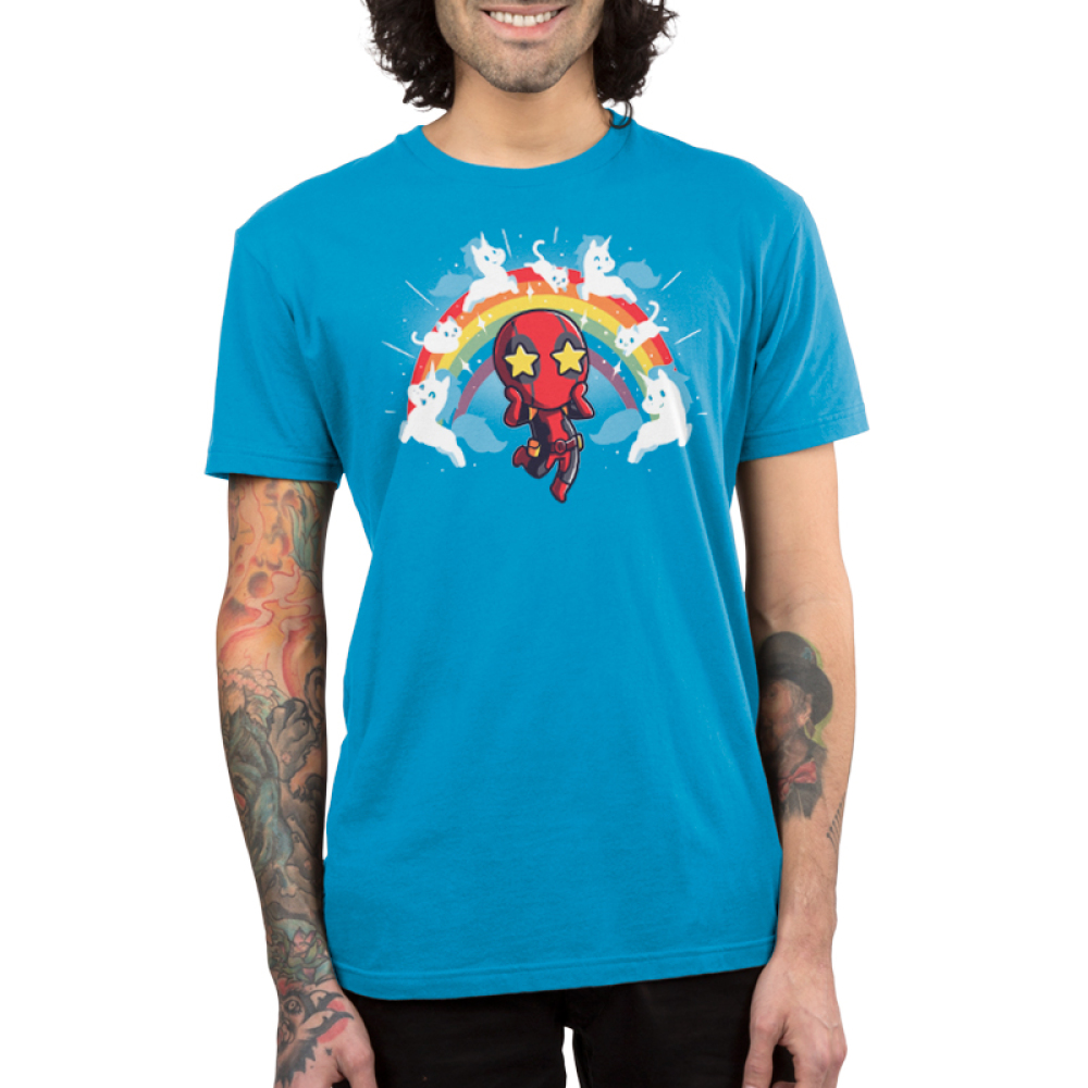 OMG Deadpool! Men's t-shirt model TeeTurtle officially licensed cobalt blue marvel t-shirt featuring deadpool with stars in his eyes surrounded by a rainbow with white cats and unicorns on it