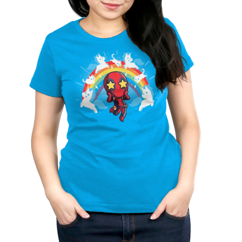 OMG Deadpool! Women's t-shirt model TeeTurtle officially licensed cobalt blue marvel t-shirt featuring deadpool with stars in his eyes surrounded by a rainbow with white cats and unicorns on it