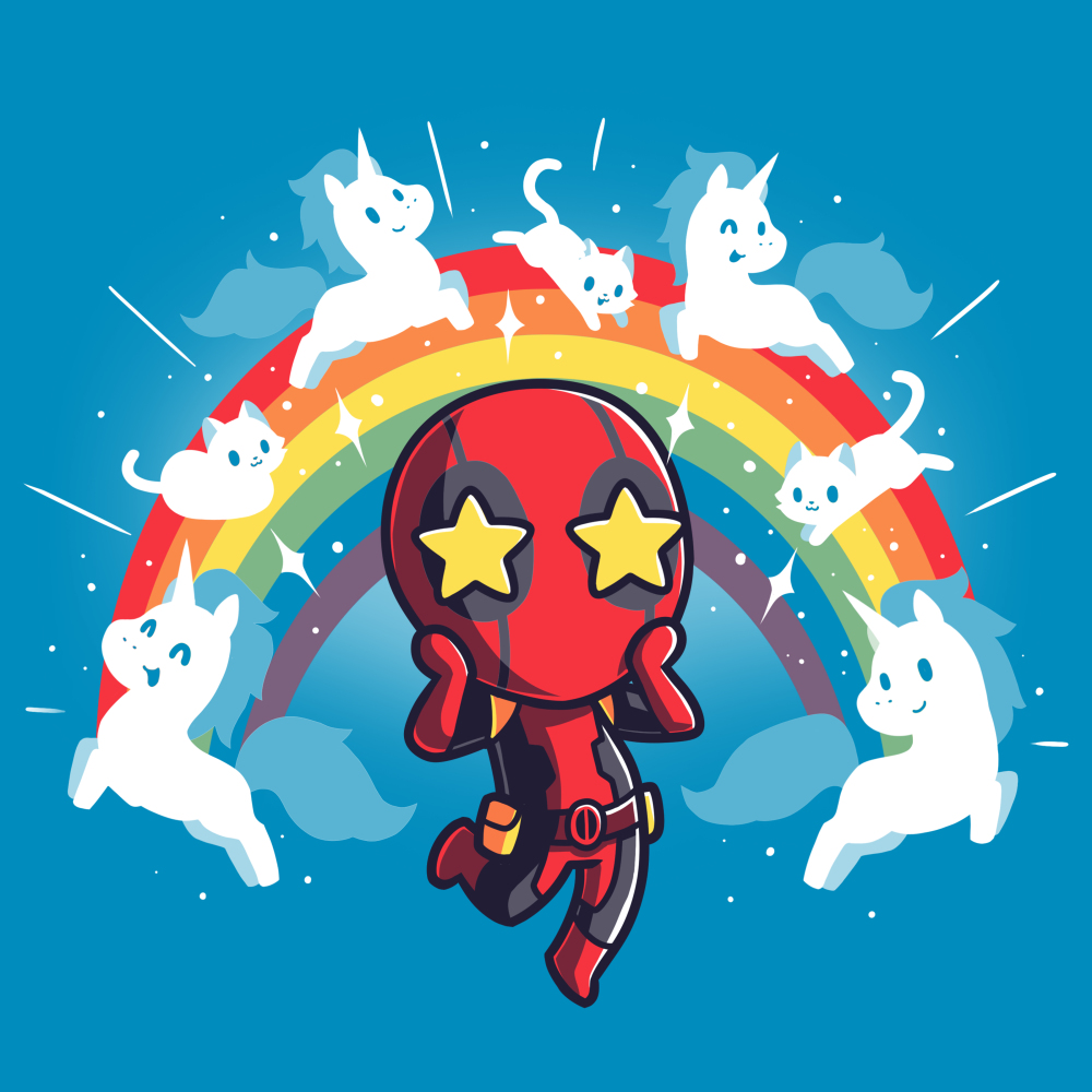 OMG Deadpool! t-shirt TeeTurtle officially licensed cobalt blue marvel t-shirt featuring deadpool with stars in his eyes surrounded by a rainbow with white cats and unicorns on it