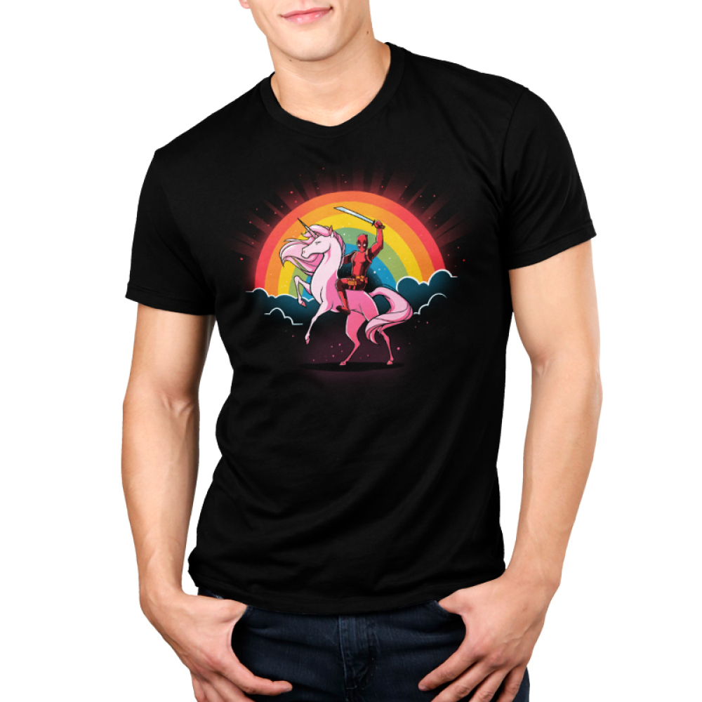 Epic Deadpool V2 Men's t-shirt model TeeTurtle officially licensed black marvel t-shirt featuring marvel on the back of a pink unicorn with a rainbow behind him