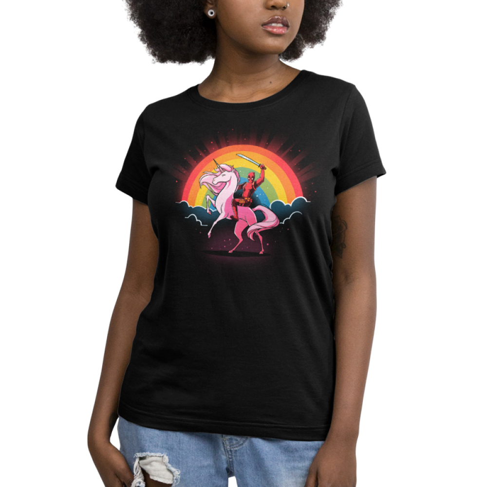 Epic Deadpool V2 Women's t-shirt model TeeTurtle officially licensed black marvel t-shirt featuring marvel on the back of a pink unicorn with a rainbow behind him