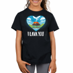 I Lava You Kid's t-shirt model TeeTurtle black t-shirt featuring a heart cut out with a smiling volcano surrounded by blue skies, clouds, trees, and a beach