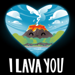 I Lava You t-shirt TeeTurtle black t-shirt featuring a heart cut out with a smiling volcano surrounded by blue skies, clouds, trees, and a beach