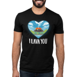 I Lava You Men's t-shirt model TeeTurtle black t-shirt featuring a heart cut out with a smiling volcano surrounded by blue skies, clouds, trees, and a beach