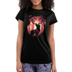 Follow Your Heart (Deer) Junior's t-shirt model TeeTurtle black t-shirt featuring a deer in the woods with his antlers forming the shape of a heart