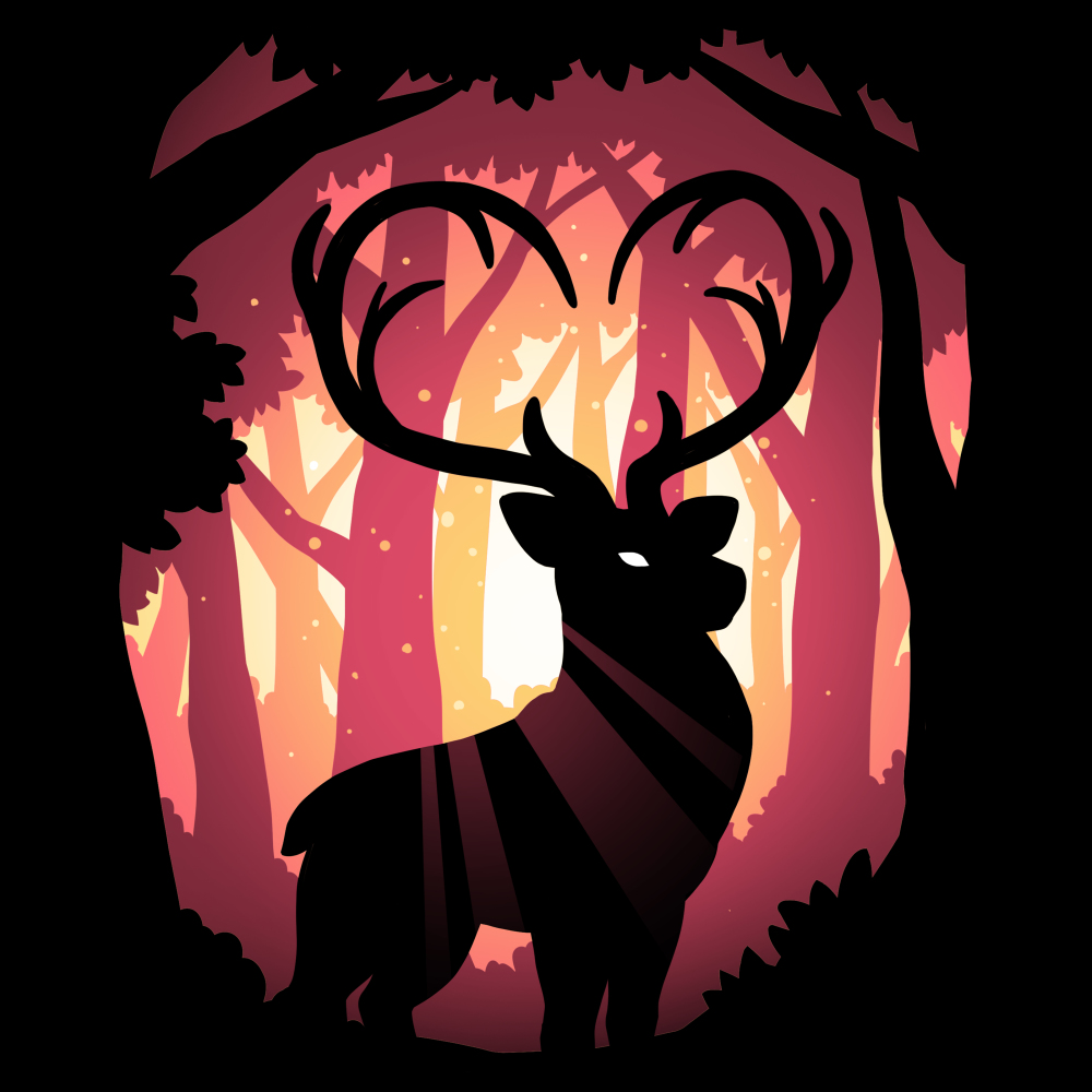 Follow Your Heart (Deer) t-shirt TeeTurtle black t-shirt featuring a deer in the woods with his antlers forming the shape of a heart