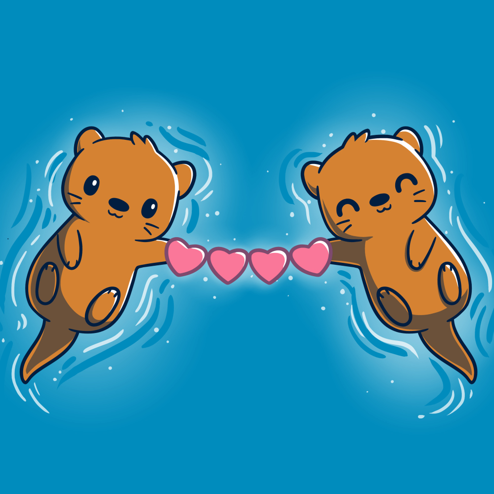 Love Like No Otter t-shirt TeeTurtle cobalt blue t-shirt featuring two otters smiling on their backs in blue water holding a chain of hearts between them