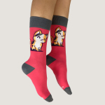 Purrfect Together Socks TeeTurtle dark coral socks featuring two cats on either sock with their tails making a heart