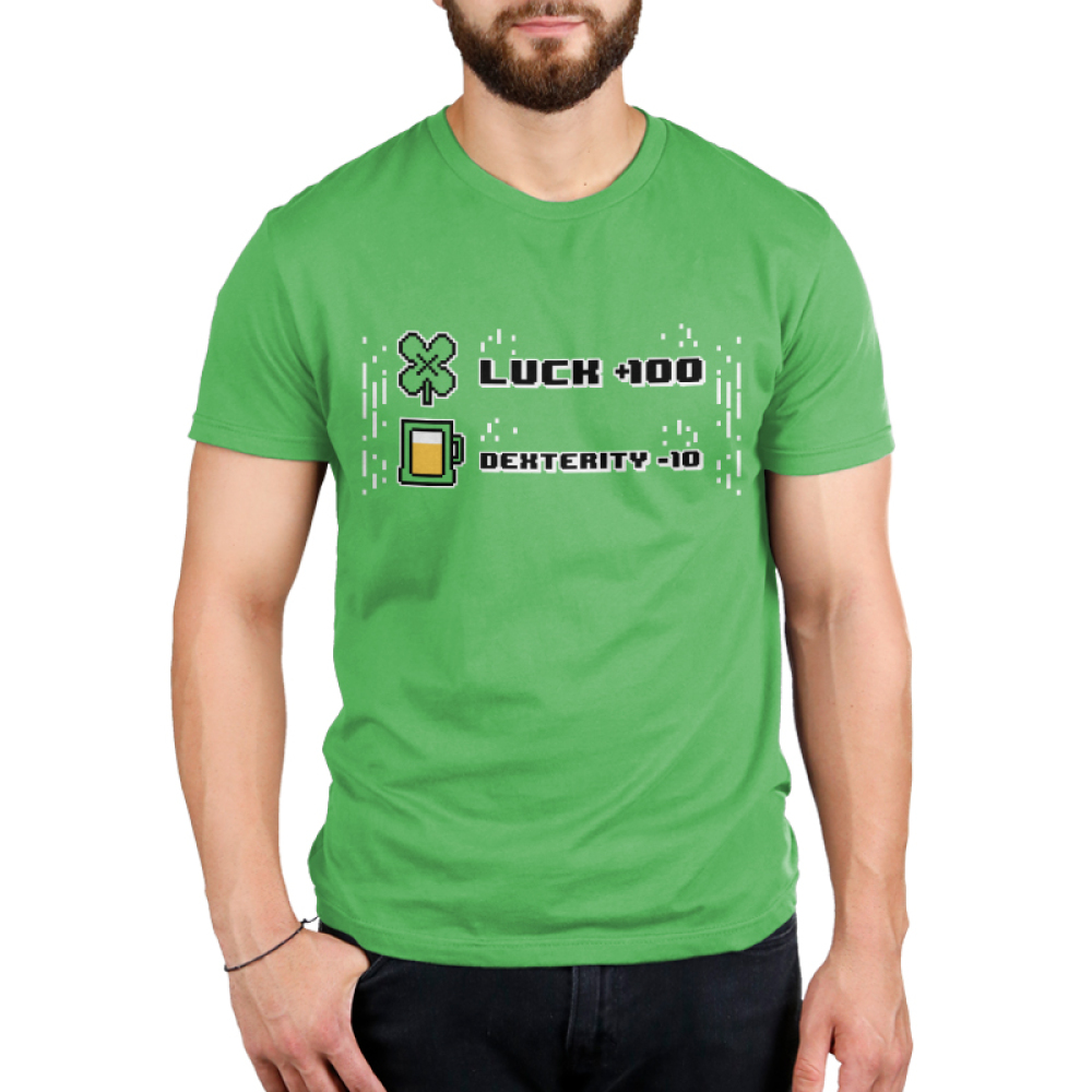 Luck +100 Men's t-shirt model TeeTurtle apple green t-shirt featuring the words luck + 100 with a four leaf clover next to it and dexterity - 10 with a glass of beer next to it