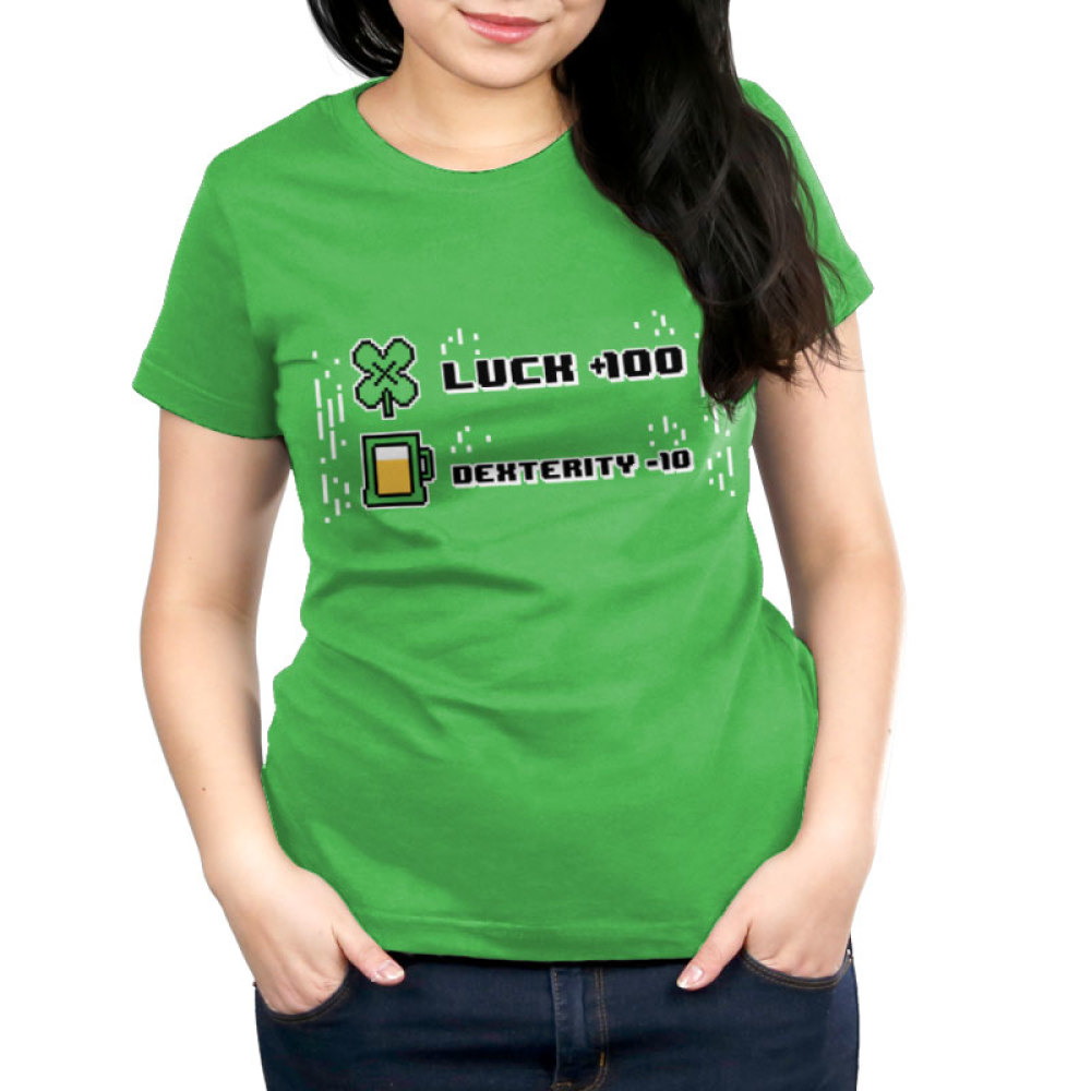Luck +100 Women's t-shirt model TeeTurtle apple green t-shirt featuring the words luck + 100 with a four leaf clover next to it and dexterity - 10 with a glass of beer next to it