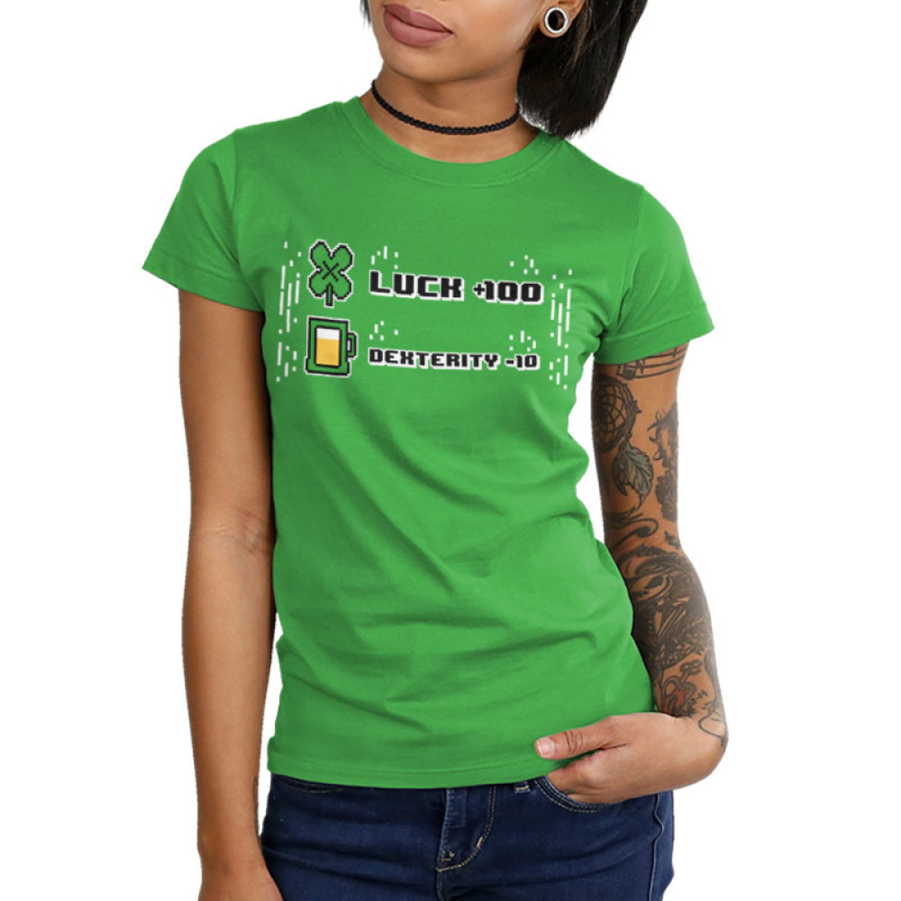 Luck +100 Junior's t-shirt model TeeTurtle apple green t-shirt featuring the words luck + 100 with a four leaf clover next to it and dexterity - 10 with a glass of beer next to it