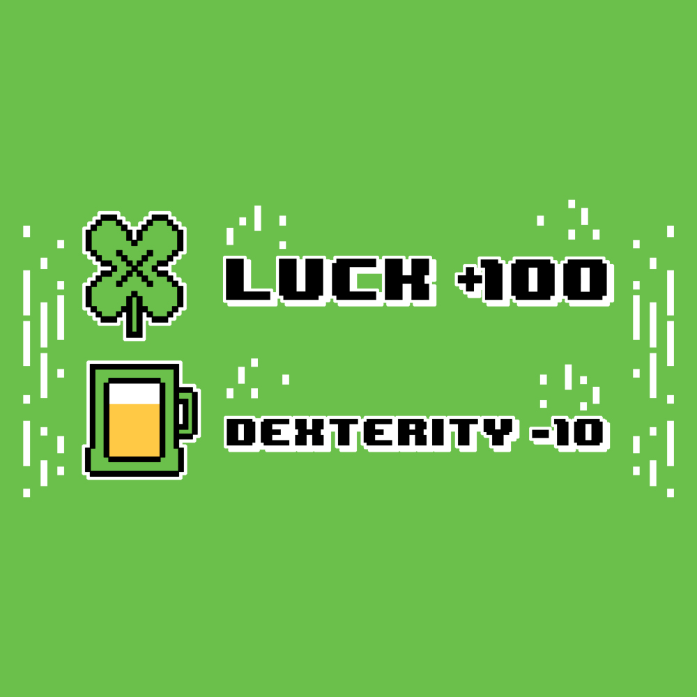Luck +100 t-shirt TeeTurtle apple green t-shirt featuring the words luck + 100 with a four leaf clover next to it and dexterity - 10 with a glass of beer next to it
