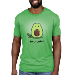 Avo-cat-o Men's t-shirt model TeeTurtle apple green t-shirt featuring a cat in the shape of an avocado with a pit in the middle of its stomach