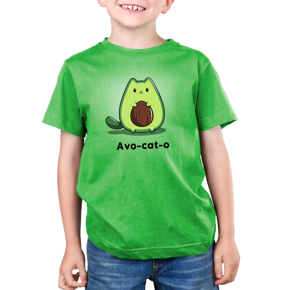 Avo-cat-o Kid's t-shirt model TeeTurtle apple green t-shirt featuring a cat in the shape of an avocado with a pit in the middle of its stomach