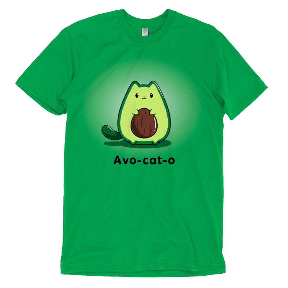 Avo-cat-o t-shirt TeeTurtle apple green t-shirt featuring a cat in the shape of an avocado with a pit in the middle of its stomach