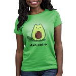 Avo-cat-o Women's t-shirt model TeeTurtle apple green t-shirt featuring a cat in the shape of an avocado with a pit in the middle of its stomach