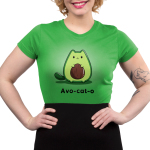 Avo-cat-o Junior's t-shirt model TeeTurtle apple green t-shirt featuring a cat in the shape of an avocado with a pit in the middle of its stomach