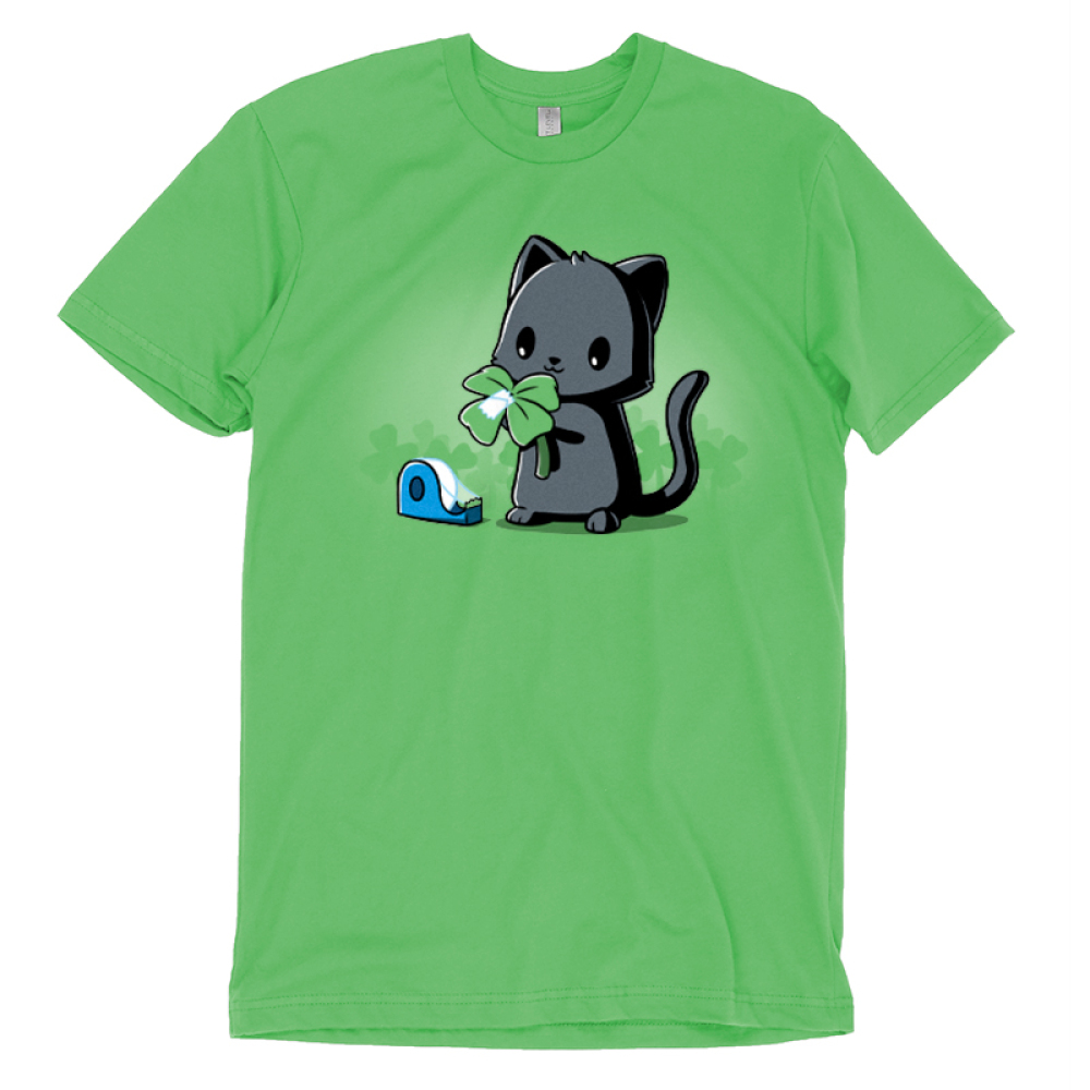 Making Luck t-shirt TeeTurtle apple green t-shirt featuring a black cat taping an extra leaf to a three leaf clover to make it a four leaf clover