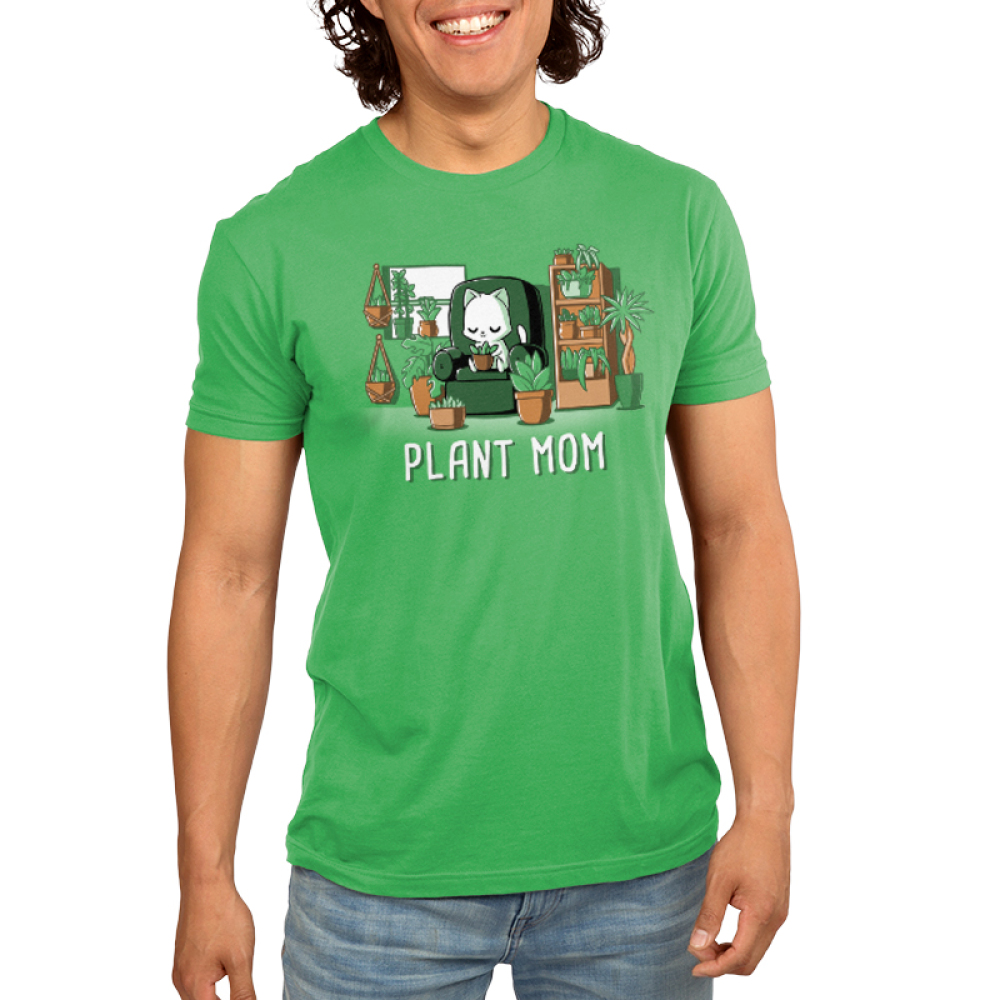 Plant Mom Men's t-shirt model TeeTurtle apple green t-shirt featuring a white cat sitting on a green chair surrounded by tons of plants