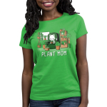 Plant Mom Women's t-shirt model TeeTurtle apple green t-shirt featuring a white cat sitting on a green chair surrounded by tons of plants