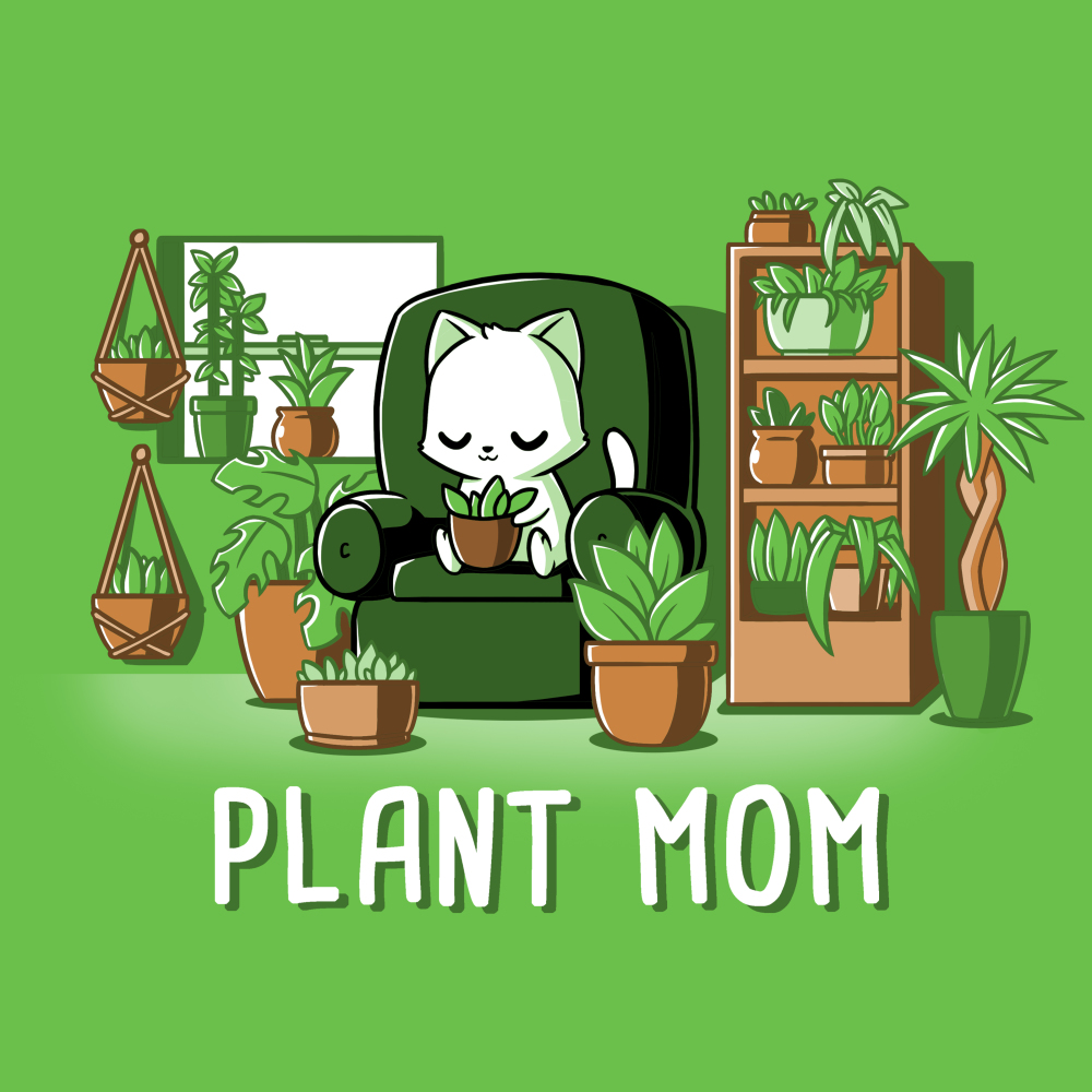 Plant Mom t-shirt TeeTurtle apple green t-shirt featuring a white cat sitting on a green chair surrounded by tons of plants
