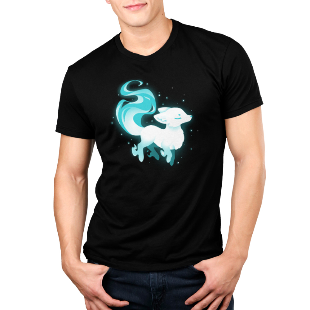 Ethereal Fox Men's t-shirt model TeeTurtle black t-shirt featuring a white and light blue majestic looking fox surrounded by twinkling stars