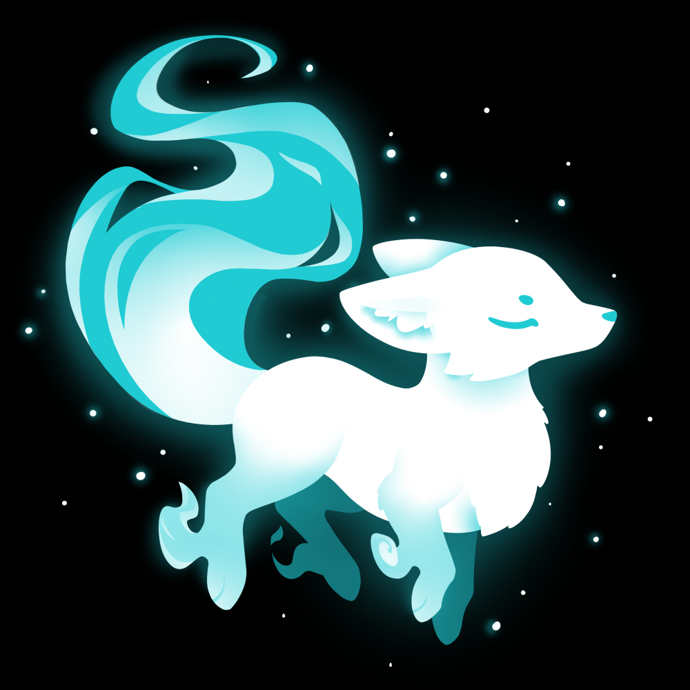 Ethereal Fox t-shirt TeeTurtle black t-shirt featuring a white and light blue majestic looking fox surrounded by twinkling stars