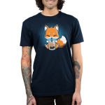Boba Fox Men's t-shirt model TeeTurtle navy t-shirt featuring an orange happy looking fox sitting a sipping on boba out of a big straw