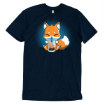 Boba Fox t-shirt TeeTurtle navy t-shirt featuring an orange happy looking fox sitting a sipping on boba out of a big straw