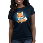 Boba Fox Women's t-shirt model TeeTurtle navy t-shirt featuring an orange happy looking fox sitting a sipping on boba out of a big straw