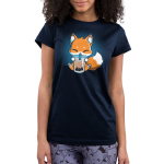 Boba Fox Junior's t-shirt model TeeTurtle navy t-shirt featuring an orange happy looking fox sitting a sipping on boba out of a big straw