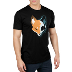 Skull Fox Men's t-shirt model TeeTurtle black t-shirt featuring a fox with one half showing their orange fur and the other half showing their skull with shades of blue