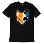 Skull Fox t-shirt TeeTurtle black t-shirt featuring a fox with one half showing their orange fur and the other half showing their skull with shades of blue