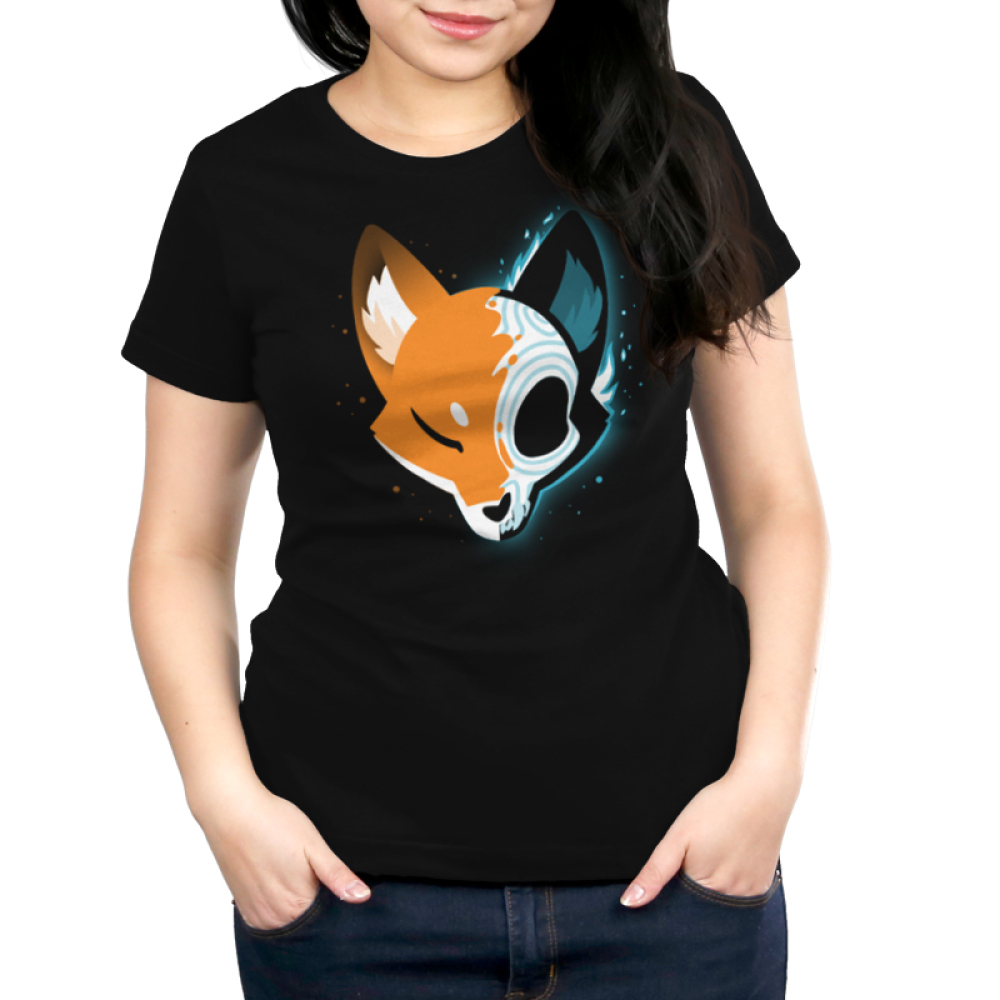Skull Fox Women's t-shirt model TeeTurtle black t-shirt featuring a fox with one half showing their orange fur and the other half showing their skull with shades of blue