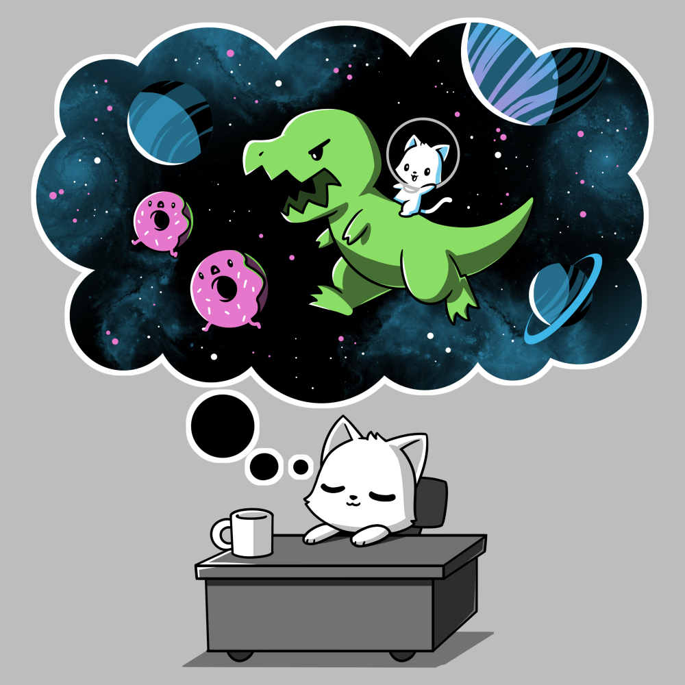 Sweet Escape t-shirt TeeTurtle silver t-shirt featuring a white cat napping on a desk with a dream bubble above him showing him riding a dinosaur chasing donuts and planets in space