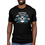 Control Freak Men's t-shirt model TeeTurtle black t-shirt featuring an angry looking panda throwing gaming controls everywhere